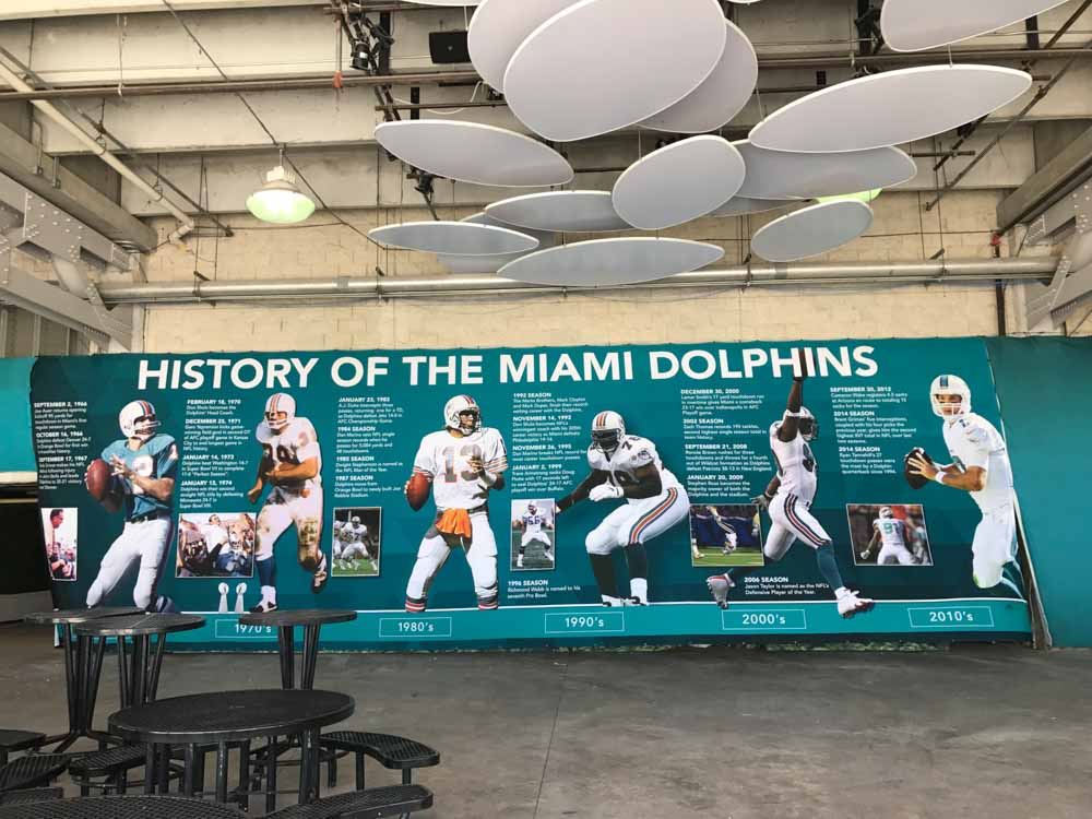 Darkhorse Miami - Miami Dolphins History of the Miami Dolphins Wall Wrap at the Hard Rock Stadium 2