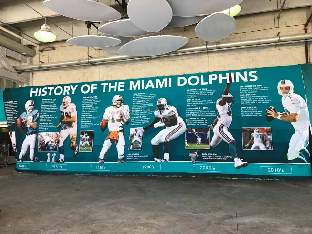 Darkhorse Miami - Miami Dolphins History of the Miami Dolphins Wall Wrap at the Hard Rock Stadium
