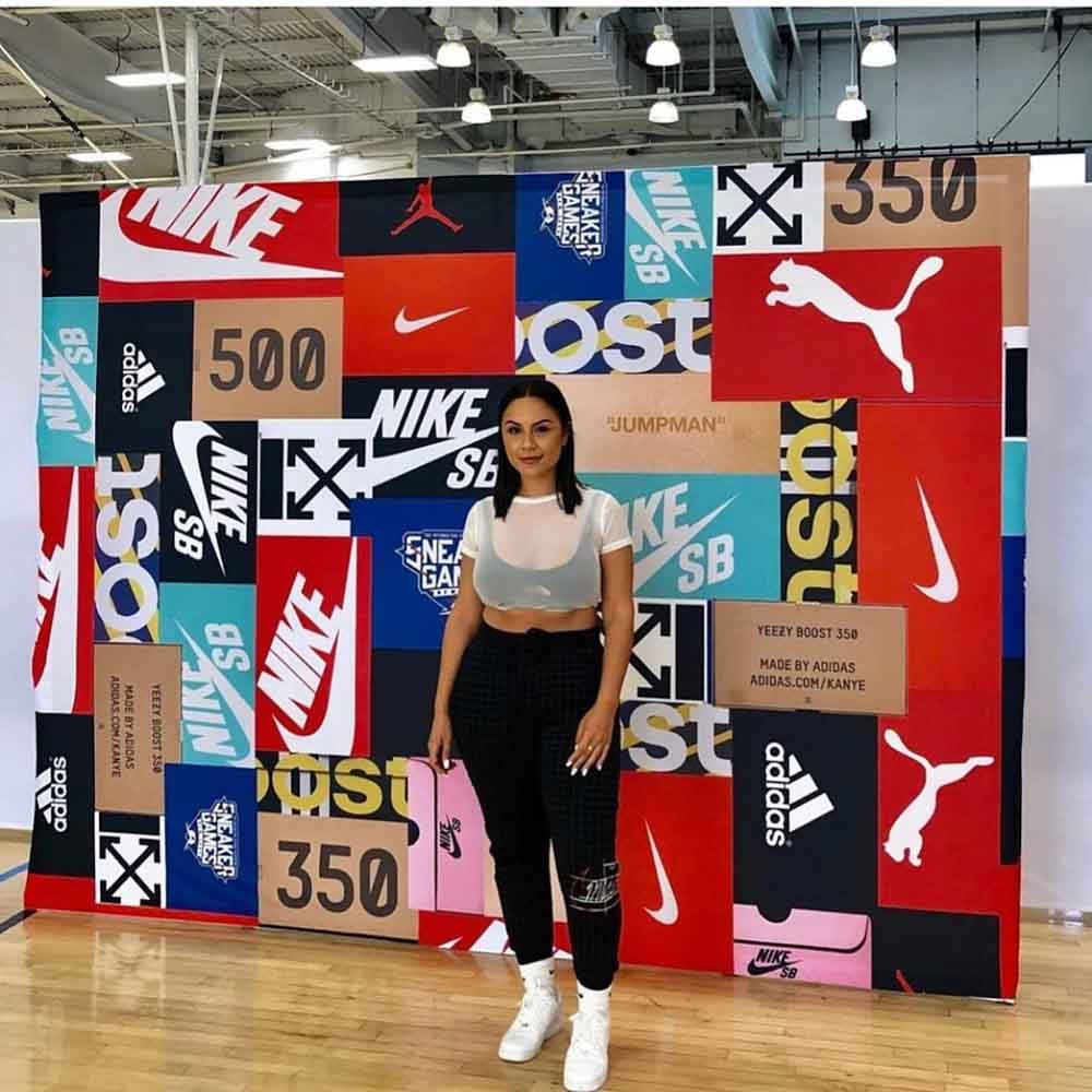 Darkhorse Miami Sneaker Games NYC Streetwear Sneakers Brand Collage Fabric Backdrop Banner