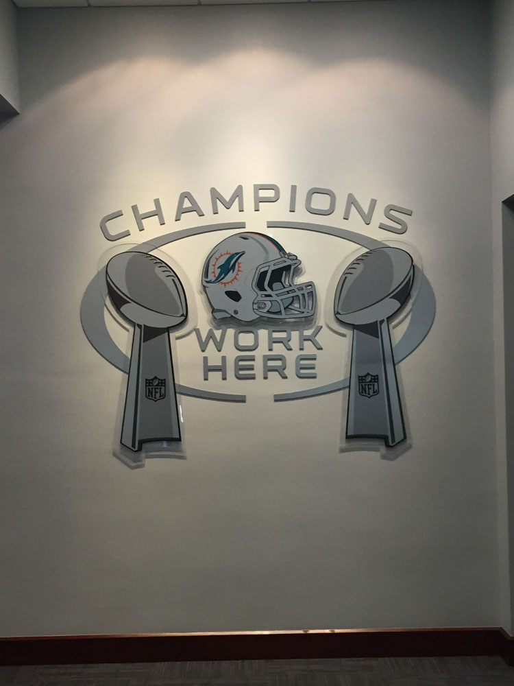 Darkhorse Miami Training Facility Miami Dolphins Gym Workout Room Silver Cutout Logos