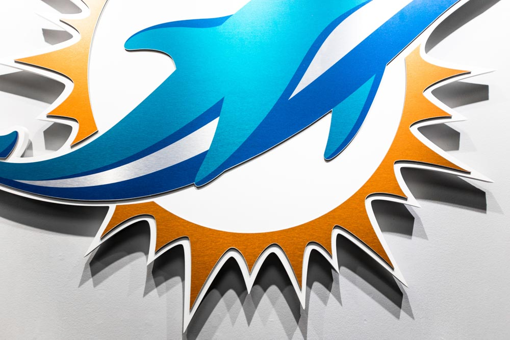 Darkhorse Miami Training Facility Miami Dolphins Cutout Logo Color Wall