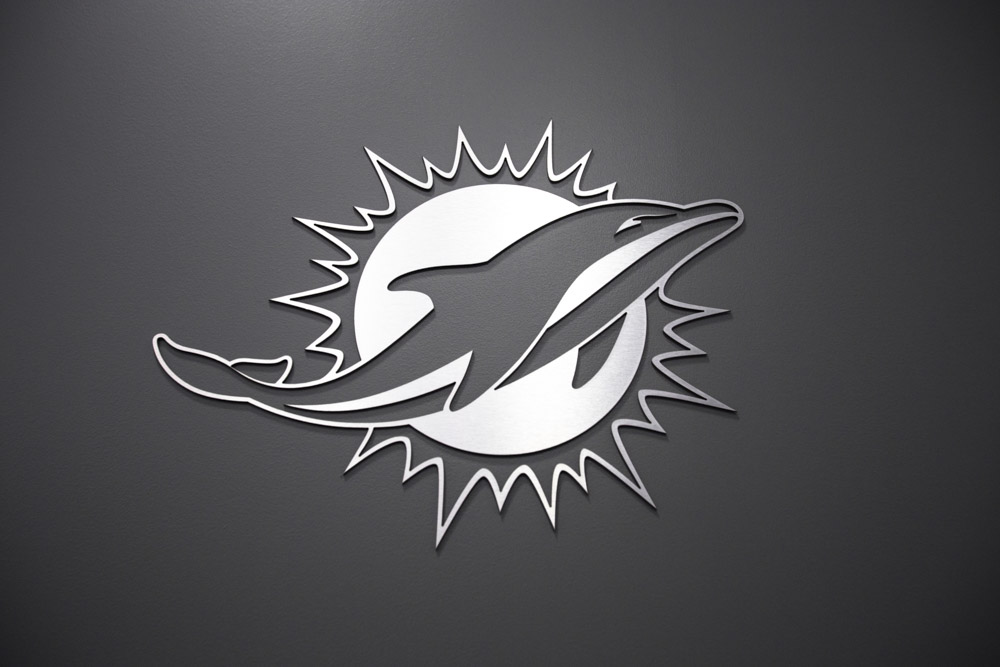 Darkhorse Miami Training Facility Miami Dolphins Silver Logo Cutout Wall