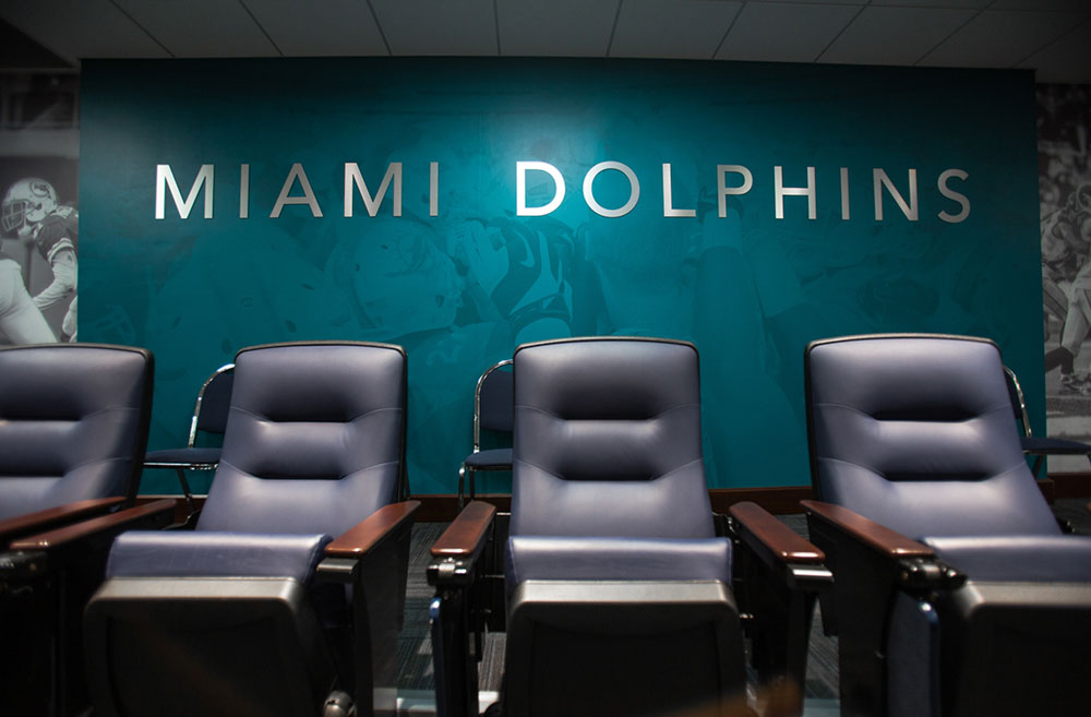 Darkhorse Miami Training Facility Miami Dolphins Lettering and Wall Wrap Media Room