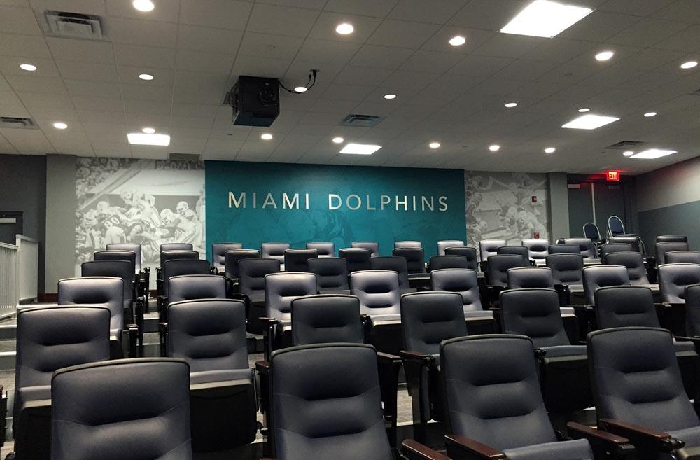 Darkhorse Miami Training Facility Miami Dolphins Silver Lettering Wall Graphics Media Room